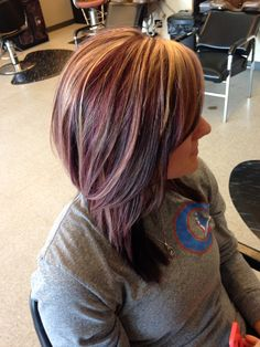 Deep violet with blonde highlights