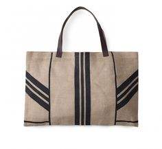 Jute Stripe Bag with Leather Handle - The Beach People