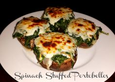 a power full journey: Spinach Stuffed Portobellos Healthy Appetizer , Snack, 21 Day Fix, Green, Blue and Teaspoon day diet stuffed peppers) Clean Eating Recipes, Healthy Eating, Cooking Recipes, Healthy Recipes, Healthy Dinners, Healthy Food, Healthy Superbowl Snacks, Healthy Appetizers, 21 Day Fix Diet