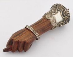 Antique Victorian Fico Mano Figa Pendant - Hand Carved Rosewood and Sterling Silver