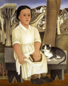 Miné Okubo (1912-2001) : Mother and Cat, 1941. Tempora on masonite.  Oakland museum of California.