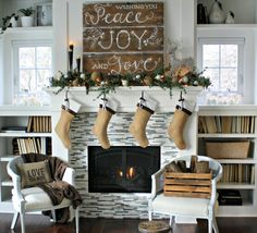 Christmas Decor: Mantle Decorated with DIY Rustic Painted Sign, Candles, Greenery & Stockings
