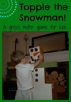 How many ways can your kids topple the snowman? This gross motor activity is great for snow days #playmatters #LetsPlaySnow #winter