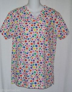 White Swan Fundamentals Scrub Top Size XS Polka Dots Ladybugs Red Pink Purple