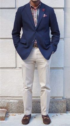 Men's Navy Blazer, Beige Dress Pants, Brown Loafers, Plaid Longsleeve Shirt, and Plaid Pocket Square