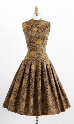 Vintage 1950's,  Black + Gold Dress   by Jonathan Logan.