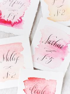 ombre watercolor place cards