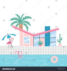 Flamingo Vector, Cool Pools, Palm Springs, New Pictures, Royalty Free Photos, Palm Trees, Create Yourself, Mid-century Modern, Pool Fun