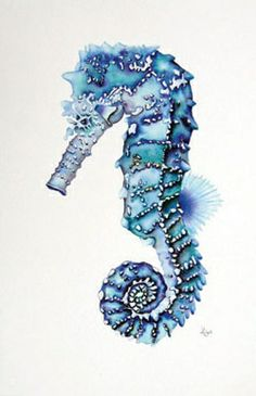 """Hippocampus"" comes from Ancient Greek, hippos meaning ""horse"" and kampos meaning ""sea monster"". Seahorse Tattoo, Seahorse Art, Seahorses, Seahorse Painting, Painting & Drawing, Round Robin, Sea Monsters, Beach Art, Copic"