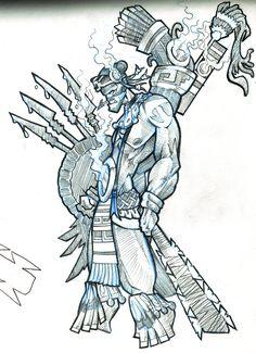 tezcatlipoca 09 by dacreativegenius on DeviantArt Surrealism Drawing, Pop Surrealism, Graffiti, Alternative Comics, Aztec Culture, Warrior Tattoos, Aztec Warrior, Aztec Art, Mesoamerican