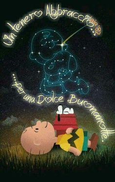 Un tenero Abbraccio per una dolce Buonanotte Good Night Wishes, Good Night Quotes, Good Afternoon, Good Morning, Snoopy Love, Peanuts Gang, Woodstock, Cartoon Characters, Joy