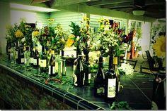 DIY wine bottles with wild flowers
