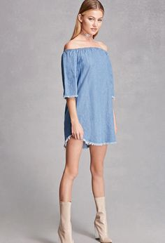 A denim dress featuring an off-the-shoulder elasticized neckline, short bell sleeves, frayed trim, on-seam pockets, and a swing silhouette. This is an independent brand and not a Forever 21 branded item.