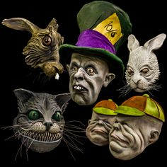 alice in wonderland mask set mad hatter cheshire cat white rabbit mad