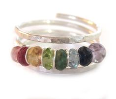 RAINBOW ON MY FINGER sterling silver and gemstone wire wrap ring