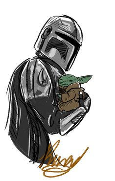 The Mandalorian art Star Wars Love, Star Wars Fan Art, Star War 3, Images Star Wars, Star Wars Pictures, Yoda Pictures, Yoda Drawing, Dinosaur Drawing, Cuadros Star Wars