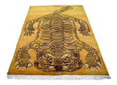 """Beautiful golden wool color rug.    The rug is nearly 5'x7'  Made in India  100% hand knotted    The length of 84"""" is including the fringe. Measurement without fringe is 79""""."""