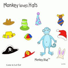 """Monkey Loves Hats   Ziggity Zoom - Modify """"Caps for Sale"""" and tie it in to a""""Who"""" game (Who has, Who wears) and a """"Pronoun"""" game (He has, He is wearing.)  Laminate and attach velcro. Nice languge group activity -just need to enlarge pics. Check out other cute printables"""