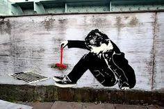 'Banksy' artwork makes brutal dig at BBC over handling of Jimmy Savile scandal Street Art Utopia, Street Art Banksy, Banksy Images, Stencilling Techniques, Stencil Street Art, Banksy Artwork, Beautiful Graffiti, London Brick, Street Art London