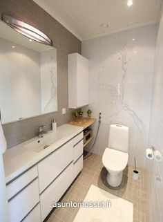 Tunturikoivu 140 - WC | Asuntomessut Bathroom Box, Bathroom Toilets, Bathrooms, Bathroom Inspiration, Interior Design Living Room, Kitchen Remodel, House Design, Ikea, Saunas