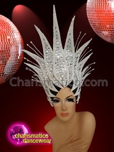CHARISMATICO Diva Showgirl sequinned headdress with large white crystals