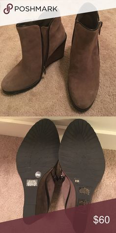 Vince Camuto Brown Suede Wedge Booties Size 8 1/2 New without tags. Booties zip on inside with faux zipper on outside. Vince Camuto Shoes Ankle Boots & Booties
