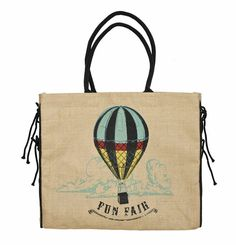 Hot Air Balloon Burlap Tote B-219 #burlap #tote #fashion #style #bag #handbag #reduce #reuse #recycle