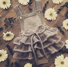 Ravelry: Lille Sukkerspinn pattern by Mari JohansenBaby Dress Small Sugarpin Pattern by Mari Johansen - # Shapes . Knit Baby Dress, Knitted Baby Clothes, Crochet Clothes, Knitting For Kids, Baby Knitting Patterns, Baby Patterns, Baby Girl Crochet, Baby Sweaters, Baby Girl Fashion