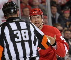 Nicklas Lidstrom complains to referee Francois St. Detroit News, St Laurent, Hockey Stuff, My Wife Is, Referee, Detroit Red Wings, March, Mars