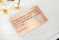 Hand Stamped Wallet Insert Card – Customized personal messages – Gift for husband, boyfriend, father and friends. Father's Day Gift Hand Stamped Wallet Insert Card – Customized personal messages – Gift for husband, boyfriend, father and friends. Love Qoutes For Boyfriend, Thoughtful Gifts For Boyfriend, Birthday Message For Boyfriend, Gifts For Husband, Boyfriend Gifts, Funny Boyfriend, 1 Year Anniversary Gift Ideas For Boyfriend, Boyfriend Messages, Boyfriend Ideas