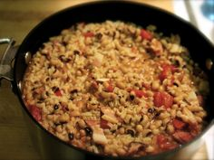 Hoppin' John is an old Southern dish, especially popular in South Carolina. It is traditionally eaten as part of a New Year's Day meal, since black-eyed peas supposedly bring good luck.