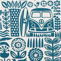 Ipanema teal palm tree bus surfing organic fabric by birch