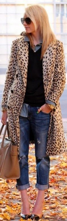 Cuffed Boyfriend Jeans W/ Grey Button Down Under Black Pullover & Leopard Print Trench Coat.