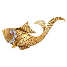 Ruby Diamond Gold Fish Brooch | From a unique collection of vintage brooches at https://www.1stdibs.com/jewelry/brooches/brooches/