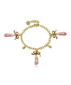 Look at this #zulilyfind! Gold & Pink Crystal Ballet Slipper Charm Bracelet #zulilyfinds