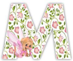 Alfabeto hada rubia con fondo de flores.   Oh my Alfabetos!