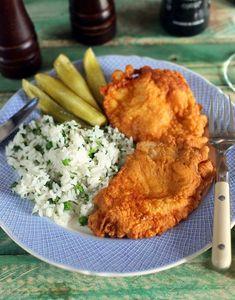 Extra ebédötlet: párizsi bundás karaj rizibizivel   Street Kitchen Pork Recipes, Cooking Recipes, Risotto, Bacon, Curry, Goodies, Food And Drink, Sweets, Chicken