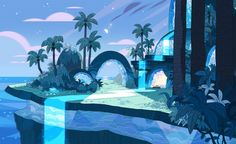 "stevencrewniverse: "" A selection of Backgrounds from the Steven Universe episode: Island Adventure Art Direction: Elle Michalka Design: Sam Bosma Paint: Amanda Winterstein, Jasmin Lai """