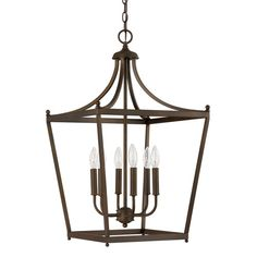 Stanton Burnished Bronze Six Light Foyer Pendant Lantern Pendant Lighting Ceiling Lightin