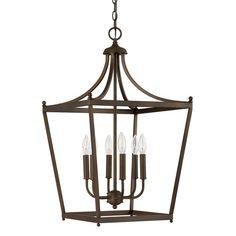 $284. Stanton Burnished Bronze Six Light Foyer Pendant Lantern Pendant Lighting Ceiling Lightin