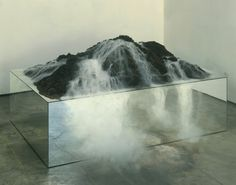"arpeggia: "" Sam Durant - What's Underneath Must Be Released and Examined to Be Understood, 1998, mirrors, earth, fog machine, and mixed media, 32"" x 44.5"" x 64.5"" """