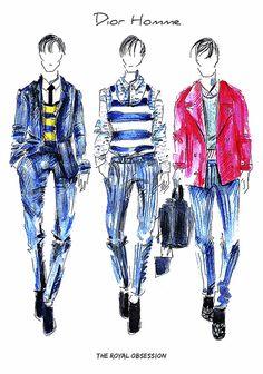 Dior Homme  Menswear Spring 2015. Fashion Illustration by Doryanna Popa.