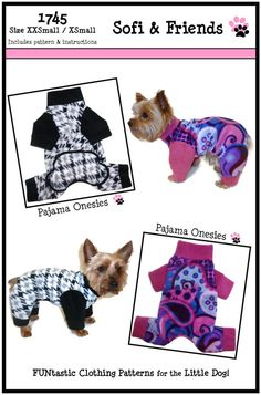Dog Pajama Onesie Pattern 1745 * XXSmall & XSmall * Dog Clothes Sewing Pattern…