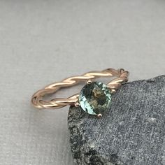 Round Natural Green Amethyst Rose Gold Ring Sterling Silver Braided Twisted Design Engagement Wedding Promise Ring by VillaniDesigns on Etsy