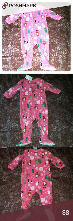 Carter's Fleece Winter Footie PJs Adorable pink pajamas just in time for the cold weather. My daughter was too big for them when I got them, so they're still NWT. Full zipper from ankle to chest with a button closure over the zipper so it doesn't come unzipped by accident. Cute winter pattern of snowflakes, penguins, etc. I have other girls clothes listed so you can bundle and save! Carter's Pajamas