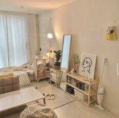 Room Ideas Bedroom, Small Room Bedroom, Home Bedroom, Bedroom Decor, Bedrooms, Korean Bedroom Ideas, Study Room Decor, Room Ideias, Deco Studio