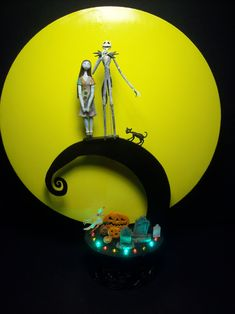 Nightmare Before Christmas Jack and Sally Bride Groom Wedding Cake Topper color lights Full Moon Halloween. $149.99, via Etsy.