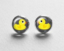 Kids Jewelry, Cute Rubber Duck Earrings Studs Posts, Girls Earrings, Geekery Jewelry, Stud Earings, E210
