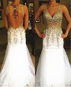 Pd10124 High Quality Prom Dress,Mermaid Prom Dress,Beading Prom Dress,Backless Prom Dress, V-Neck Prom Dress