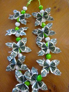 Kukui Nut Graduation Money Lei with bills by PCbyMarilyn Money Lei, Money Origami, Origami Paper, Graduation Crafts, Graduation Leis, Graduation Regalia, Graduation Quotes, College Graduation, Creative Money Gifts